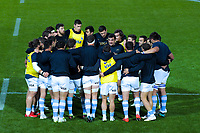 The Pumas huddle before the Rugby Championship match between the New Zealand All Blacks and Argentina Pumas at Trafalgar Park in Nelson, New Zealand on Saturday, 8 September 2018. Photo: Dave Lintott / lintottphoto.co.nz