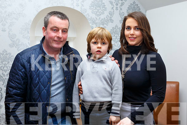 Tom O&rsquo;Connell from Abbeydorney, who will be 4 years old this week celebrating his birthday with Mom and Dad in Bella Bia on Saturday last. <br /> L-r Eamonn, Tom and Amanda O&rsquo;Connell.