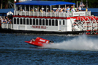 3-4 May 2008, Pickwick,TN USA.Shaun Torrente passes the Pickwick Belle Riverboat..©2008 F.Peirce Williams