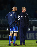 28th February 2020; RDS Arena, Dublin, Leinster, Ireland; Guinness Pro 14 Rugby, Leinster versus Glasgow; Scott Fardy (Captain Leinster) and Leinster head coach Leo Cullen chat as the players warm up