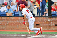 Johnson City Cardinals Zach Jackson (15) swings at a pitch during a game against the Kingsport Mets at TVA Credit Union Ballpark on June 28, 2019 in Johnson City, Tennessee. The Cardinals defeated the Mets 7-4. (Tony Farlow/Four Seam Images)