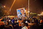 """Supporters of newly elected President Otto Perez Molina and Vice President, Roxanna Baldetti, celebrate in Guatemala City, Guatemala, on Saturday, Nov. 5, 2011...Fifteen years after the end of its bloody and genocidal civil war, Guatemala elected its first peacetime military leader, Otto Perez Molina, a former army general who emerged from military retirement shrouded with human rights abuses. The country that once turned its back on the military, has returned to military power...President Otto Pérez Molina rallied a """"mano dura"""" campaign to fight incessant violence caused by the global drug market, organized crime, and the international financial crisis."""
