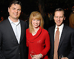 From left: Collin and Jacquelyn Cox with Russ Frank at the Buffalo Bayou Partnership's annual Ball on the Sabine St. bridge Thursday Nov. 05,2009. (Dave Rossman/For the Chronicle)