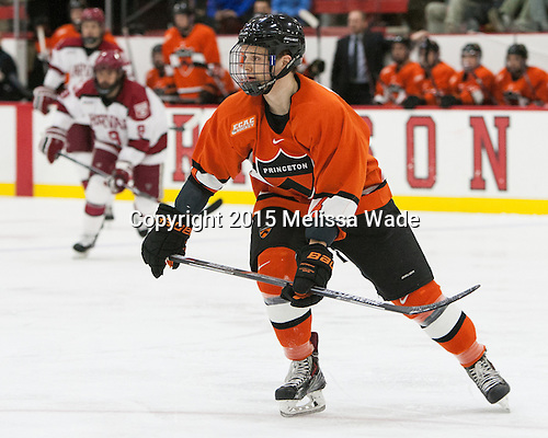 Tom Kroshus (Princeton - 4) - The Harvard University Crimson defeated the visiting Princeton University Tigers 5-0 on Harvard's senior night on Saturday, February 28, 2015, at Bright-Landry Hockey Center in Boston, Massachusetts.