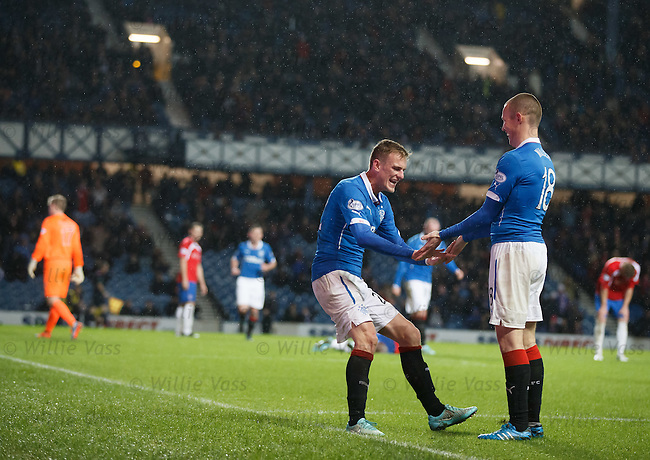 Dean Shiels celebrates his goal with Kenny Miller