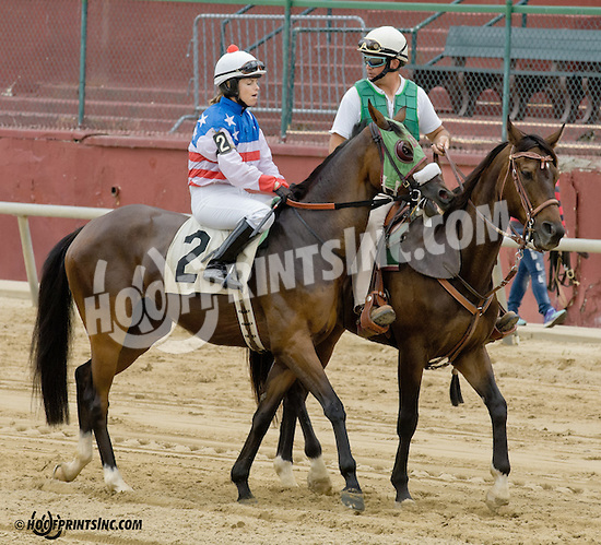 Gitano Boy with Eilidh Grant before The International Ladies Fegentri  at Delaware Park racetrack on 6/9/14