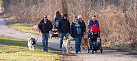 Balmy weather was a popular attraction for Sarnians to get outdoors and move about before the nasty winter weather returns. High school friends in no particular order are Ashley McLeod and her dog Dakota, Lisa  and Andrew Anderson with there baby (no name) and dog Neico, Ashley Wood and Jake Belrose with dogs Kali and Kaiden.