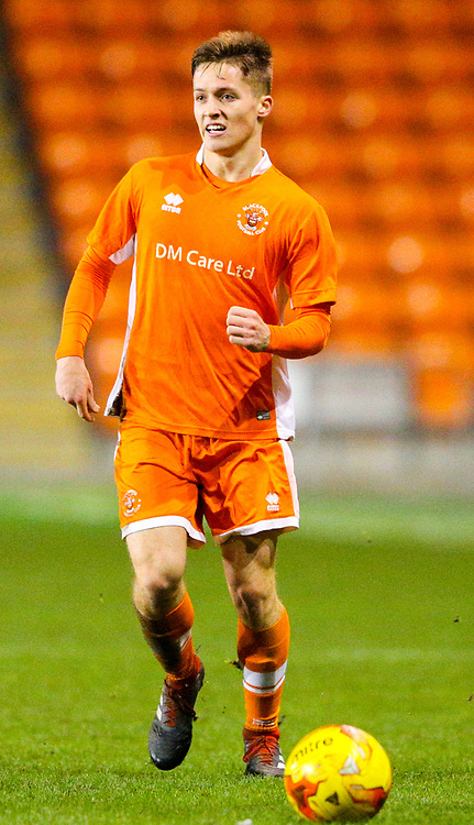 Blackpool's Will McGladdery<br /> <br /> Photographer Alex Dodd/CameraSport<br /> <br /> The FA Youth Cup Third Round - Blackpool U18 v Derby County U18 - Tuesday 4th December 2018 - Bloomfield Road - Blackpool<br />  <br /> World Copyright © 2018 CameraSport. All rights reserved. 43 Linden Ave. Countesthorpe. Leicester. England. LE8 5PG - Tel: +44 (0) 116 277 4147 - admin@camerasport.com - www.camerasport.com