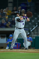 Evan Skoug (19) of the Winston-Salem Dash at bat against the Myrtle Beach Pelicans at TicketReturn.com Field on May 16, 2019 in Myrtle Beach, South Carolina. The Dash defeated the Pelicans 6-0. (Brian Westerholt/Four Seam Images)