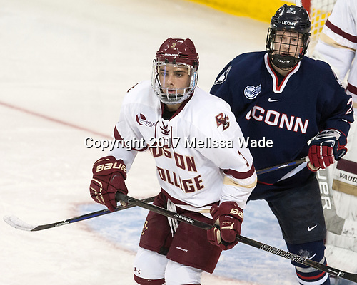 Luke McInnis (BC - 3), Kasperi Ojantakanen (UConn - 23) - The Boston College Eagles defeated the visiting UConn Huskies 2-1 on Tuesday, January 24, 2017, at Kelley Rink in Conte Forum in Chestnut Hill, Massachusetts.