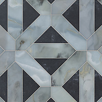 Joie Grand, a hand-cut stone mosaic, shown in honed Orpheus Black and polished Pacifica, is part of the Semplice™ collection for New Ravenna.