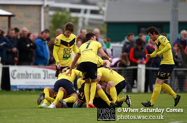 Aberystwyth Town 1 Newtown 2, 17/05/2015. Park Avenue, Europa League Play Off final. Newtown players celebrate the opening goal scored by No. 20 Tom Goodwin. Aberystwyth finished 14 points above Newtown in the Welsh Premier League, but were beaten 1-2 in the Play Off Final. Photo by Paul Thompson.