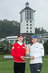 The winning team, Jung Min Lee of South Korea (left), and Jin Young Ko of South Korea (right) poses with the trophy during the Prize giving ceremony of the World Ladies Championship 2016 on 13 March 2016 at Mission Hills Olazabal Golf Course in Dongguan, China. Photo by Victor Fraile / Power Sport Images