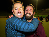 Hutt coach Pete Miskimmin celebrates victory with nephew Sam after the Wellington premier men's hockey final between Dalefield and Hutt at The National Hockey Stadium, Wellington, New Zealand on Saturday, 12 August 2017. Photo: Dave Lintott / lintottphoto.co.nz