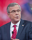 Former Governor Jeb Bush (Republican of Florida) speaks at the Conservative Political Action Conference (CPAC) at the Gaylord National at National Harbor, Maryland on Friday, February 27, 2015.<br /> Credit: Ron Sachs / CNP
