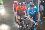 The main contenders including Vincenzo Nibali (ITA) Bahrain-Merida in the mist on the Mortirolo climb during Stage 16 of the 2019 Giro d'Italia, running 194km from Lovere to Ponte di Legno, Italy. 28th May 2019<br /> Picture: POOL Luca Bettini/LaPresse | Cyclefile<br /> <br /> All photos usage must carry mandatory copyright credit (© Cyclefile | POOL Luca Bettini/LaPresse)
