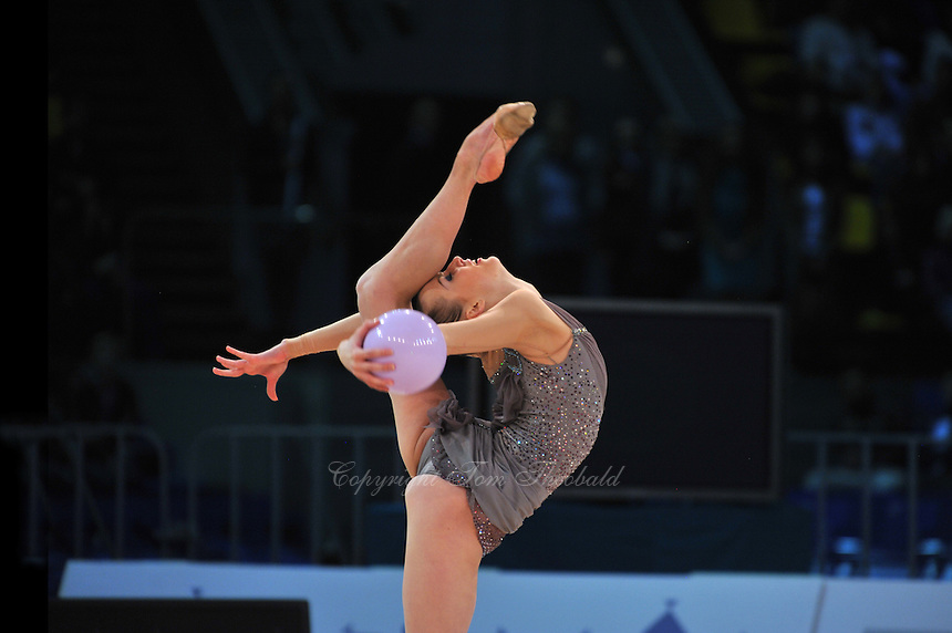 "GANNA RIZATDINOVA of Ukraine performs in Event Finals at 2011 World Cup Kiev, ""Deriugina Cup"" in Kiev, Ukraine on May 8, 2011."