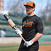 Cody Puckett, Long Island Ducks infielder, gets ready to take batting practice during a team workout at Bethpage Ballpark in Central Islip, NY on Friday, April 14, 2017.