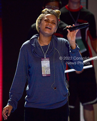Andra Day rehearses her song prior to performing during the second session of the 2016 Democratic National Convention at the Wells Fargo Center in Philadelphia, Pennsylvania on Tuesday, July 26, 2016.<br /> Credit: Ron Sachs / CNP<br /> (RESTRICTION: NO New York or New Jersey Newspapers or newspapers within a 75 mile radius of New York City)