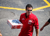 Sep 3, 2016; Clermont, IN, USA; Papa Johns pizza founder John Schnatter during NHRA qualifying for the US Nationals at Lucas Oil Raceway. Mandatory Credit: Mark J. Rebilas-USA TODAY Sports