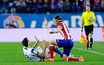 Atletico Madrid's defender Filipe Luis during the Spanish league football match Atletico de Madrid vs RCD Espanyol at the Vicente Calderon stadium in Madrid on March 15, 2014. <br />