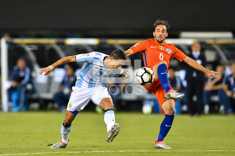 East Rutherford, NJ - Sunday June 26, 2016: Angel Di Maria, Jose Pedro Fuenzalida during a Copa America Centenario finals match between Argentina (ARG) and Chile (CHI) at MetLife Stadium.