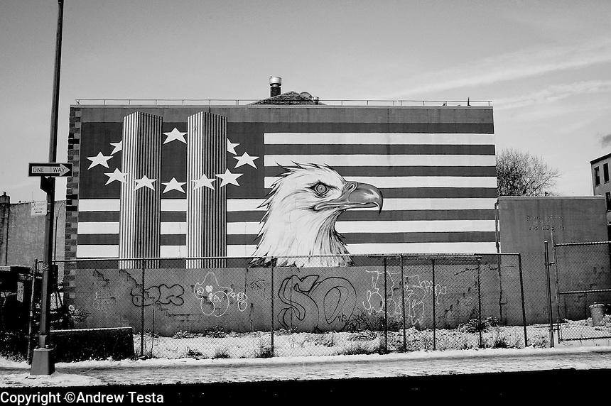 USA. Manhattan. 20th January 2009.9/11 wall mural, Brooklyn..©Andrew Testa