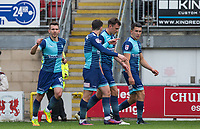 Matt Bloomfield of Wycombe Wanderers celebrates his goal during the Sky Bet League 2 match between Leyton Orient and Wycombe Wanderers at the Matchroom Stadium, London, England on 1 April 2017. Photo by Andy Rowland.