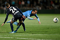 17th November 2019; Jubilee Oval, Sydney, New South Wales, Australia; A League Football, Sydney Football Club versus Melbourne Victory; Adam le Fondre of Sydney goes down under pressure from Anthony Lesiotis of Melbourne Victory