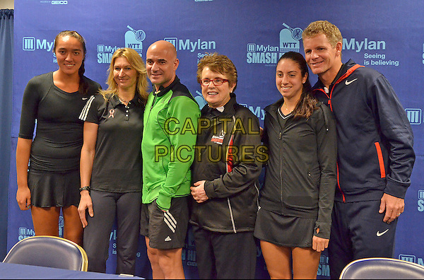 TEAM BILLIE JEAN (l to r SAMANTHA CRAWFORD, STEFANIE GRAF, ANDRE AGASSI, BILLIE JEAN KING, CHRISTINA McHALE and MARK KNOWLES) attends the Press Conference before the Mylan WTT Smash Hits World Team Tennis Match held at the Petersen Events Center. The 20th anniversary edition of Mylan WTTSmash Hits presented by GEICO, was one for the record books with the event posting a record $1 million for the Elton John AIDS Foundation with a portion of those proceeds benefitting the Pittsburgh AIDS Task Force. The.event, hosted annually by Sir Elton John and Billie Jean King, has now raised more the $11.5 million to support HIV and AIDS prevention and awareness programs since the first Smash Hits was held in Los Angeles in 1993. Pittsburgh, PA., USA. .October 16th, 2012 .half length green black jacket top.CAP/ADM/JN.©Jason L Nelson/AdMedia/Capital Pictures.