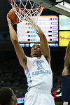 14 February 2016: North Carolina's Brice Johnson dunks the ball. The University of North Carolina Tar Heels hosted the University of Pittsburgh Panthers at the Dean E. Smith Center in Chapel Hill, North Carolina in a 2015-16 NCAA Division I Men's Basketball game. UNC won the game 85-64.