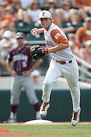 Texas Longhorns third baseman Erich Weiss #6 makes a play during the NCAA baseball game against the Texas A&M Aggies on April 28, 2012 at UFCU Disch-Falk Field in Austin, Texas. The Aggies beat the Longhorns 12-4. (Andrew Woolley / Four Seam Images).