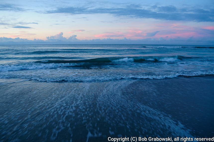 Waves breaking on the shore of the Outer Banks at Emerald Isle in North Carolina