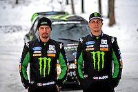 Jan. 26, 2010; Gladwin, MI, USA; Rally racer Ken Block (right) and co-driver Alex Gelsomino pose for a portrait during a private test on a county road in northern Michigan. Mandatory Credit: Mark J. Rebilas