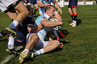 Pat Tapley of Bedford Blues scores his team's 2nd try of the game during the Greene King IPA Championship match between London Scottish Football Club and Bedford Blues at Richmond Athletic Ground, Richmond, United Kingdom on 25 March 2017. Photo by David Horn / PRiME Media Images.