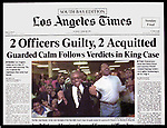 Los Angeles Times front page following the civil verdict finding police officers guilty in their physical abuse of Rodney King.