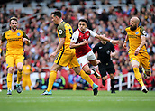 1st October 2017, Emirates Stadium, London, England; EPL Premier League Football, Arsenal versus Brighton; Alexis Sanchez of Arsenal is fouled by Lewis Dunk of Brighton during an Arsenal attack, and awarded a free kick