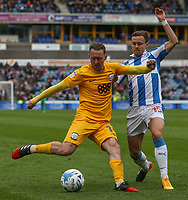Preston North End's Aidan McGeady battles with Huddersfield Town's Chris Lowe<br /> <br /> Photographer Alex Dodd/CameraSport<br /> <br /> The EFL Sky Bet Championship - Huddersfield Town v Preston North End - Friday 14th April 2016 - The John Smith's Stadium - Huddersfield<br /> <br /> World Copyright &copy; 2017 CameraSport. All rights reserved. 43 Linden Ave. Countesthorpe. Leicester. England. LE8 5PG - Tel: +44 (0) 116 277 4147 - admin@camerasport.com - www.camerasport.com