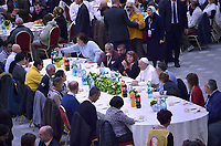 Pope Francis  has a lunch with destitute people, on November 18, 2018, at the Paul VI audience hall in Vatican, to mark the World Day of the Poor.