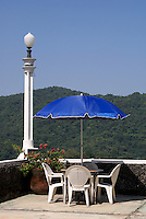 Terrace at the Posada El Castillo, former home of Edward James in Xilitla, San Luis Potosi state, Mexico