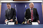 "Israeli Minister of Environmental Protection, MK Gilad Erdan (L), and Israel's Finance Minister, MK Yuval Steinitz (R) are seen during a joint press conference they held at the finance Ministry in Jerusalem, Monday, June 8, 2009. Erdan and Steinitz announced the new governmental ""Green Tax"" policy, by which incentives will be given for the purchase of a hybrid or electric car, and penalties to owners of vehicles deemed ""environmentally unfriendly. Photo By: Emil Salman / JINI."