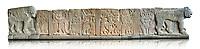 Pictures & images of the North Gate Hittite sculpture stele depicting Hittite Gods. 8th century BC. Karatepe Aslantas Open-Air Museum (Karatepe-Aslantaş Açık Hava Müzesi), Osmaniye Province, Turkey. Against white background