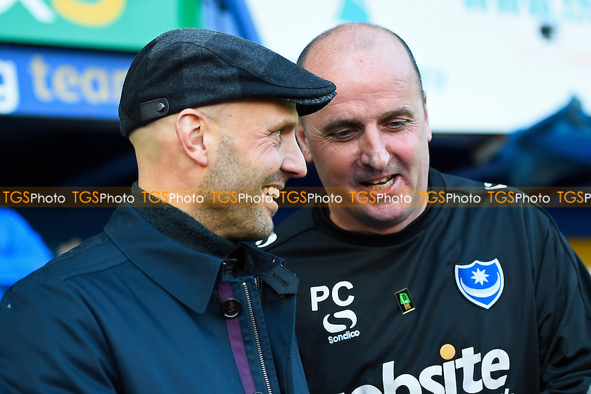 Exeter City Manager Paul Tisdale left and Portsmouth Manager Paul Cook share a joke before kick off during Portsmouth vs Exeter City, Sky Bet EFL League 2 Football at Fratton Park on 28th January 2017
