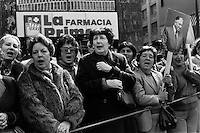 La dictadura de Augusto Pinochet y sus partidarios celebran el golpe militar y los 12 anos del gobierno militar.<br /> Santiago Chile 11 Septiembre 1985<br /> Forty years ago, on September 11, 1973, a military coup led by General Augusto Pinochet toppled the democratic socialist government of Chile. President Salvador Allende was killed during the  attack to seize  La Moneda presidential palace.  In the aftermath of the coup, a quarter of a million people were detained for their political beliefs, 3000 were killed or disappeared and many thousands were tortured.<br /> Some years later in 1981, while Pinochet ruled Chile with iron fist, a young photographer called Juan Carlos Caceres started to freelance in the streets of Santiago and the poblaciones or poor outskirts, showing the growing resistance against the dictatorship. For the next 10 years Caceres photographed every single protest and social movement fighting for the restoration of democracy. He knew that his camera was his only weapon, he knew that his fate was to register the daily violence and leave his images for the History.<br /> In this days Caceres is working to rescue and organize his collection of images in the project Imagenes de la Resistencia   . With support of some Chilean official institutions, thousands of negatives are digitalized and organized to set up the more complete visual heritage of this  violent period of Chile&acute;s history.<br /> In a time when technology was not very friendly and communications were kind of basic, Juan Carlos Caceres and other photojournalist were always at the right place in the right moment defying the threats of the police. Their work is now  a visual heritage that documents and remind us the fight of Chilean people for democracy.