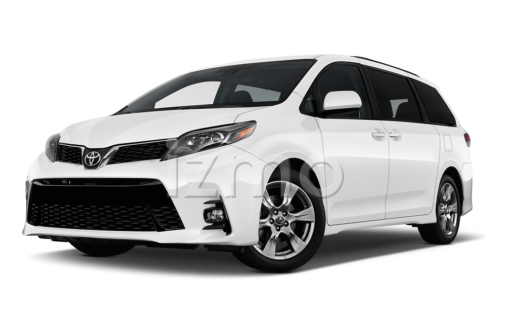 Stock pictures of low aggressive front three quarter view of a 2020 Toyota Sienna SE 5 Door Mini Van