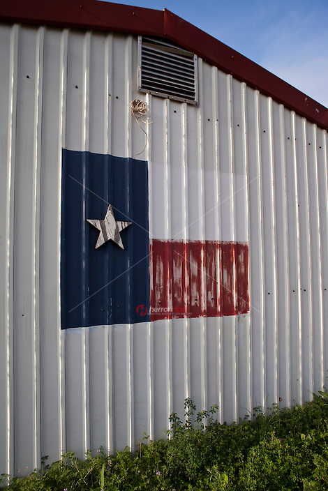 A Texas flag painted on the side of a building