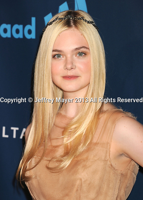 LOS ANGELES, CA- APRIL 20: Actress Elle Fanning arrives at the 24th Annual GLAAD Media Awards at JW Marriott Los Angeles at L.A. LIVE on April 20, 2013 in Los Angeles, California.