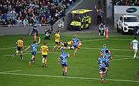 14th June 2020, Aukland, New Zealand;  Dalton Papalii scores a try at the Investec Super Rugby Aotearoa match, between the Blues and Hurricanes held at Eden Park, Auckland, New Zealand.