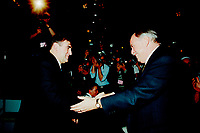 ID :  pr_95-04-7 and 8 3.jpg<br /> <br /> D&amp;K :  Montreal, April 7, 1995 File Photo.<br /> (At that time) Leader of the Bloc Quebecois ; Lucien Bouchard and  (at that time) leader of the Parti Quebecois and Queber Premier ; Jacques Parizeau <br /> shakes hands in front of the press on the opening day of the Bloc Quebecoiscovention  in Montreal on June 1995.<br /> Lucien Bouchard replaced Jacques Parizeau as leader of the Parti Quebecois and also as Premier of Quebec Province. Jacques Parizeau is not a member of the Quebec parliament at this time (April 2000).<br /> <br /> Phoo by Pierre Roussel,(c)  1995