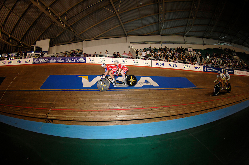 Photo: Richard Lane..VISA Paralympic World Cup 2007. Track Cycling. 11/05/2007. .Ayleen McGlynn and Ellen Hunter of Great Britain in the Tandem Sprint Final, female.